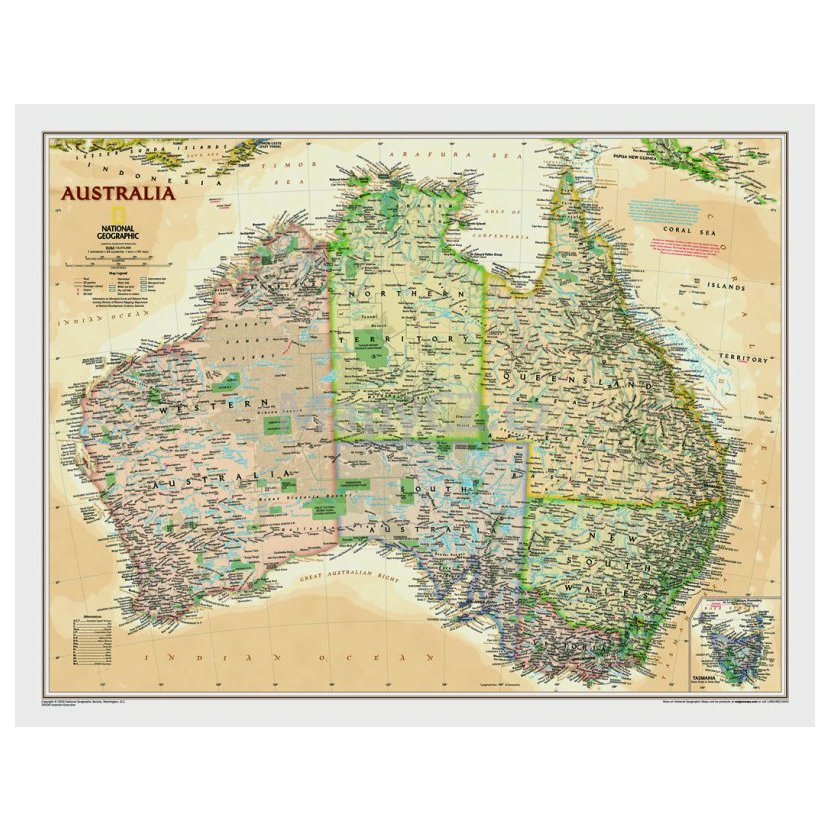 Australie National Geographic Executive Nastenna Mapa 80 X 60 Cm
