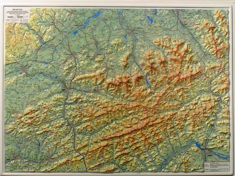 Beskydy 1 100 000 Plasticka Mapa 100 X 75 Cm Nastenne Mapy