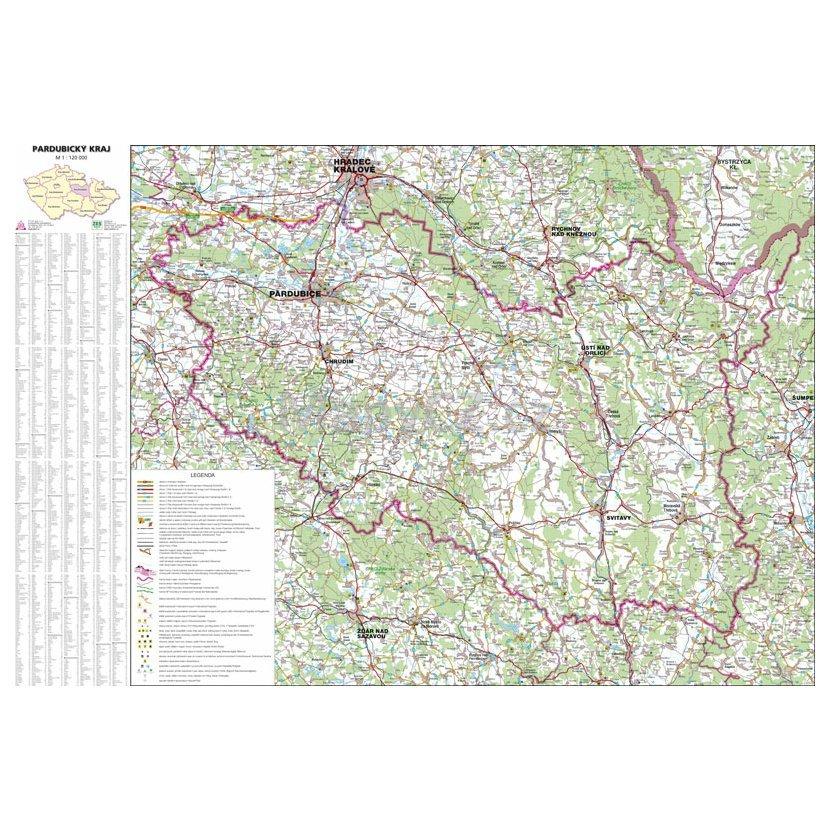 Pardubicky Kraj Nastenna Mapa 113 X 83 Cm Lamino Listy