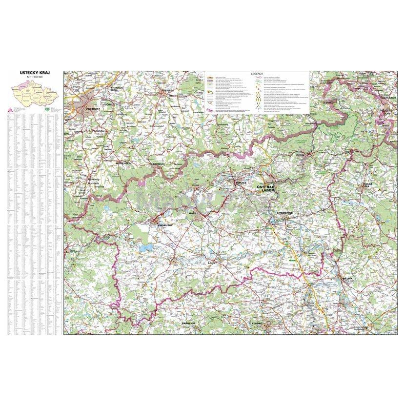 Ustecky Kraj Nastenna Mapa 113 X 83 Cm Lamino Listy