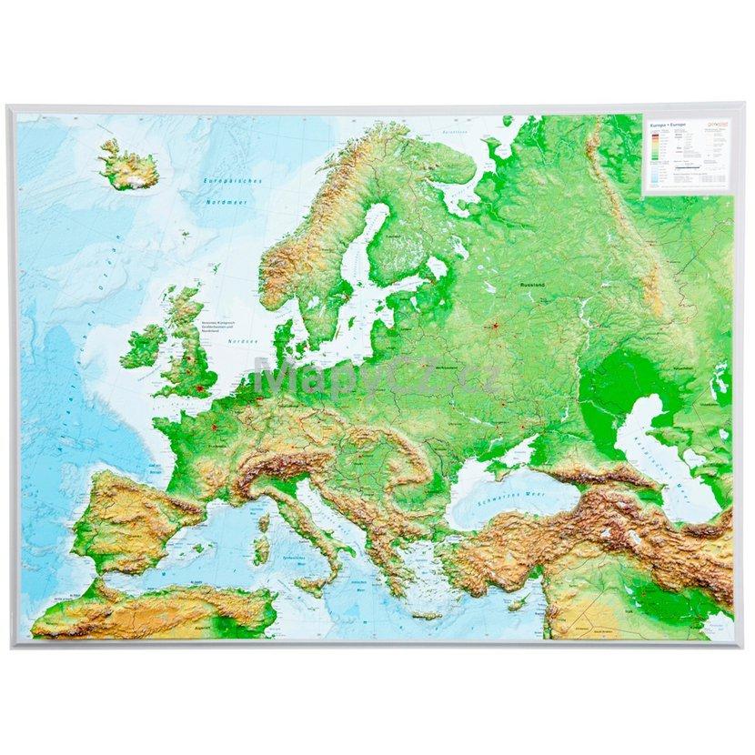 Evropa Plasticka Mapa 80 X 60 Cm Nastenne Mapy Mapycz Cz