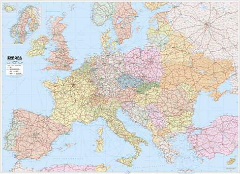 Nastenne Mapy Evropy Politicke Silnicni Spedicni Zeleznicni