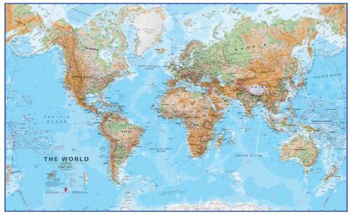 Svet Fyzicky Nastenna Mapa 136 X 85 Cm Laminovana S 2 Listami